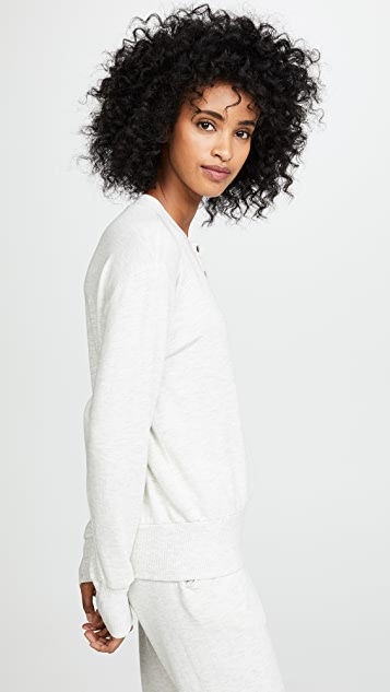 MONROW Supersoft Henley Sweatshirt