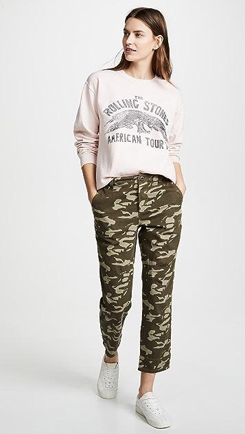 MONROW Two Toned High Waisted Military Pants