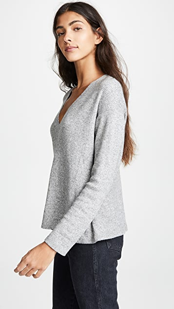 MONROW V Neck Thermal Sweatshirt