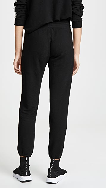 MONROW Черные двухцветные очень мягкие спортивные брюки