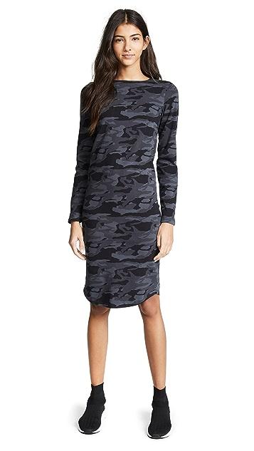 MONROW Camo Fitted Long Sleeve Dress
