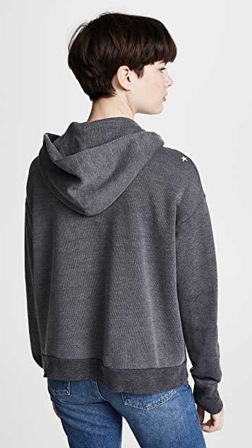 MONROW Oversized Zip Up Hoodie With Faded Stars