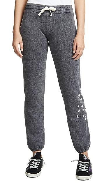 MONROW Fleece Sweatpants with Faded Stars