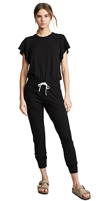 MONROW Supersoft Cap Sleeve Jumpsuit - Black