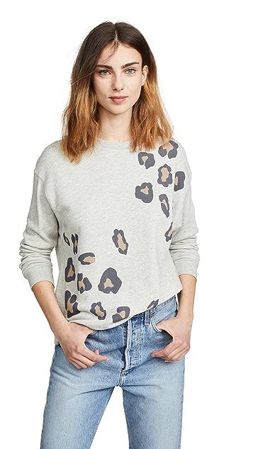 MONROW Oversized Leopard Print Sweatshirt