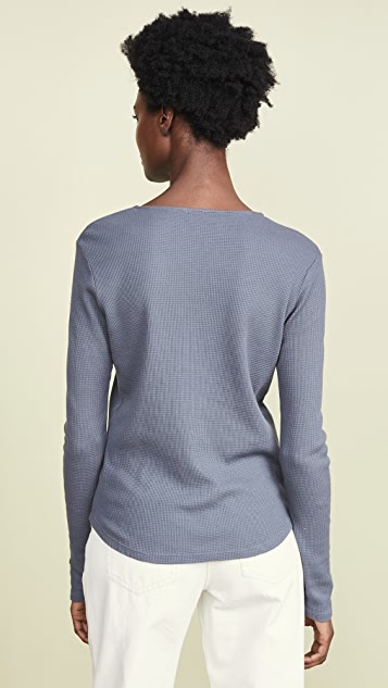 MONROW Long Sleeve Relaxed Henley