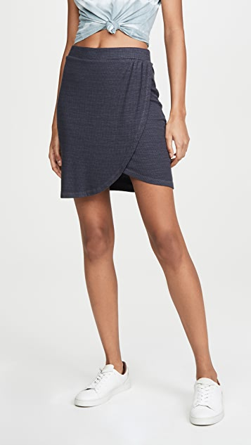 MONROW Rib Wrapped Skirt
