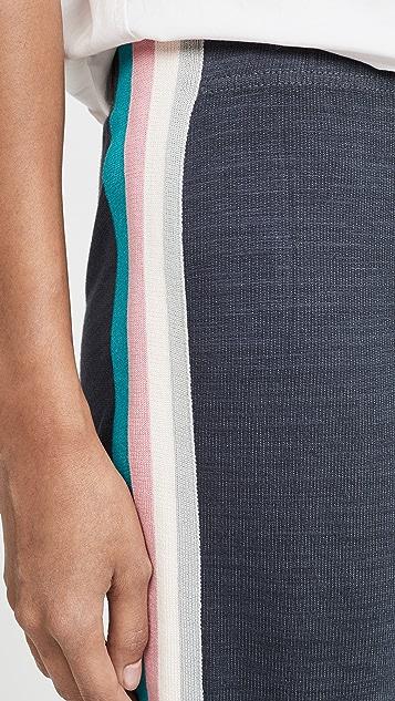 MONROW Elastic Waist Sweats with Summer Stripes