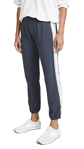 MONROW Elastic Waist Sweats with Summer Stripes