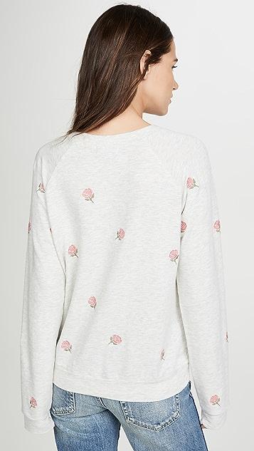 MONROW Пуловер с рукавами реглан и вышитой розой