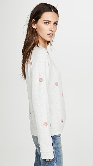 MONROW Raglan Pullover with Rose Embroidery