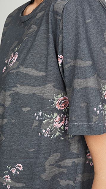 MONROW Camo Oversized Crew Tee with Floral