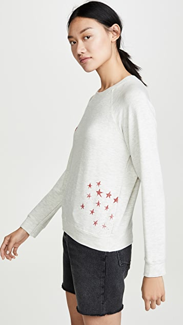 MONROW Supersoft Vintage Raglan Pullover with Faded Stars