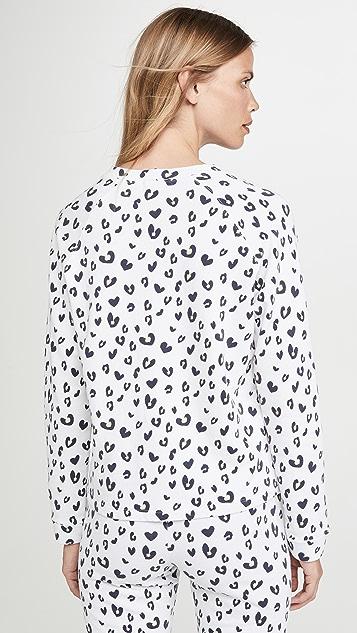 MONROW 豹纹连肩圆领运动衫