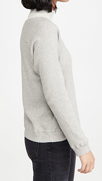 MONROW Heather Pointelle Cowl Raglan Top