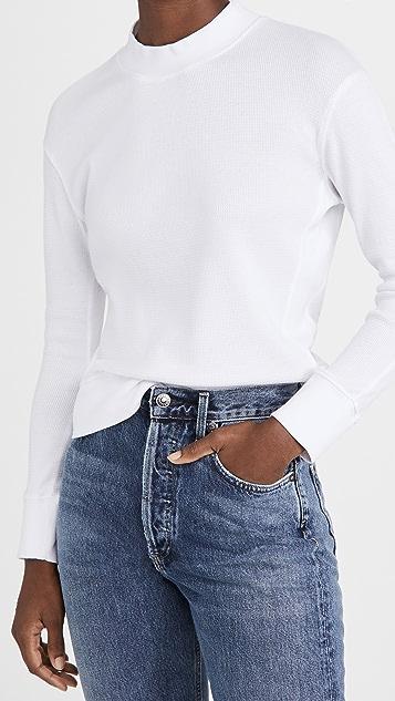 MONROW Thermal Mock Neck Seamed Sweatshirt