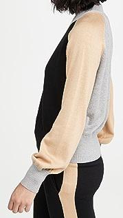MONROW 撞色半高领毛衣