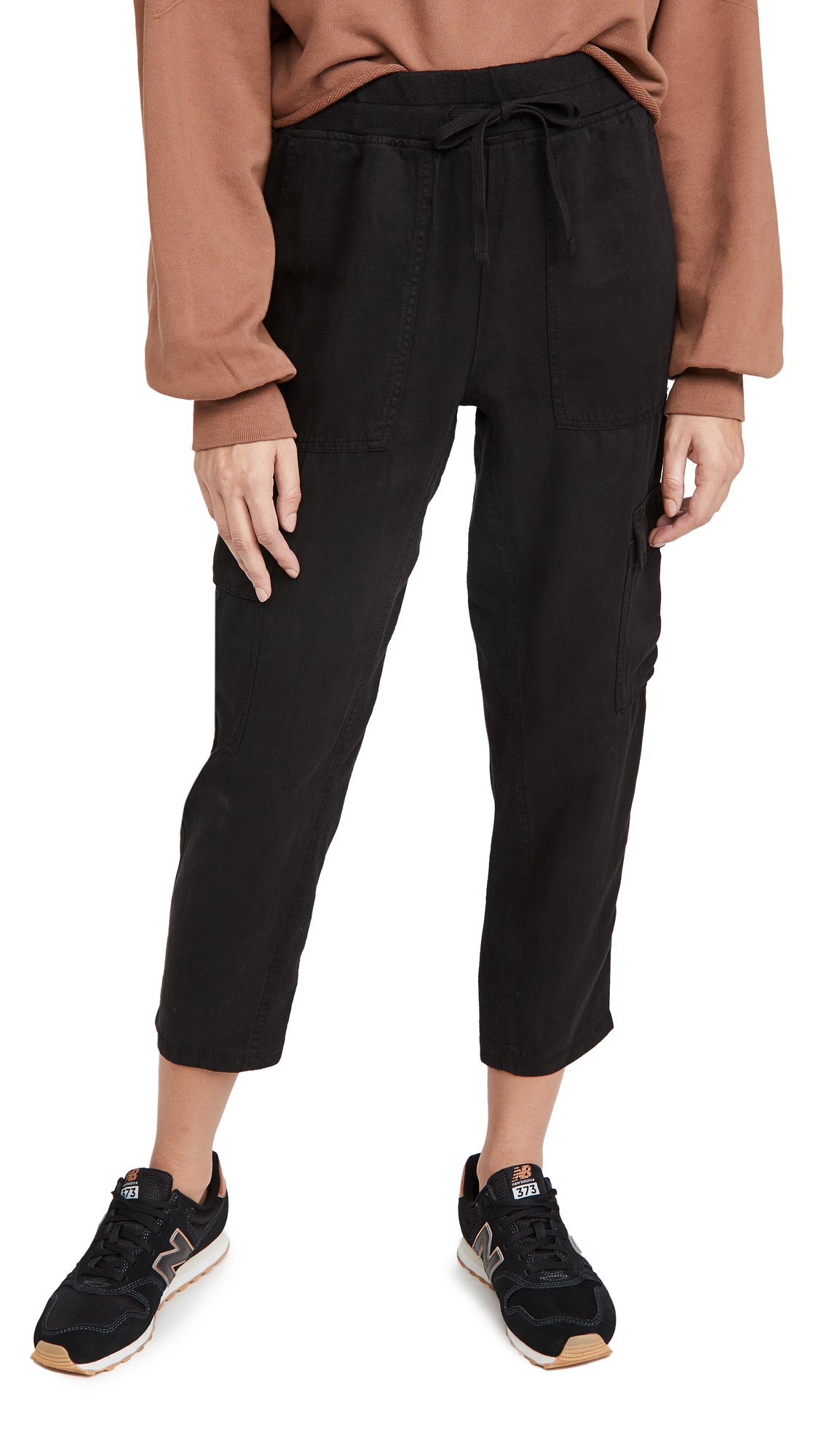 MONROW Cargo Jogger Pants with Contrast Rib