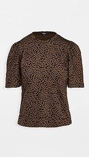 MONROW 迷你豹纹抽褶袖 T 恤