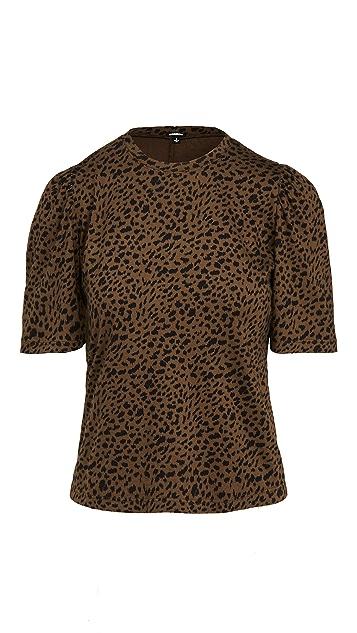 MONROW Mini Leopard Shirred Sleeve Tee