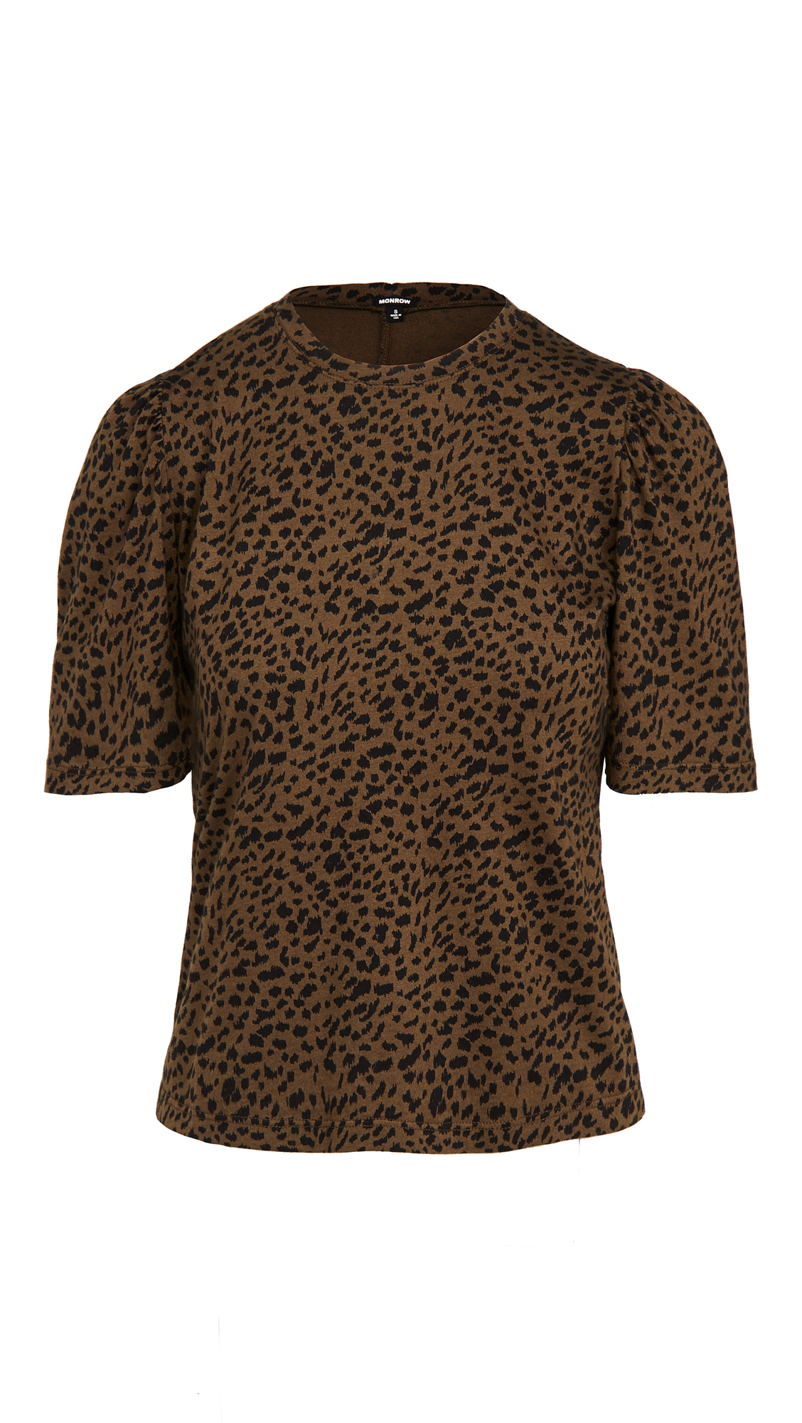 Monrow Tops MINI LEOPARD SHIRRED SLEEVE TEE