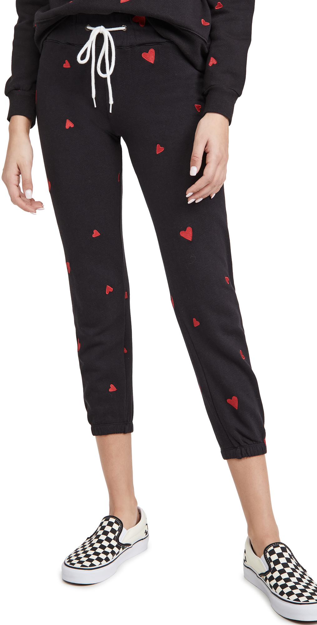 MONROW All Over Embroidered Heart Vintage Sweats