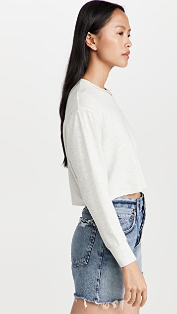 MONROW Raw Hem Boyfriend Sweatshirt