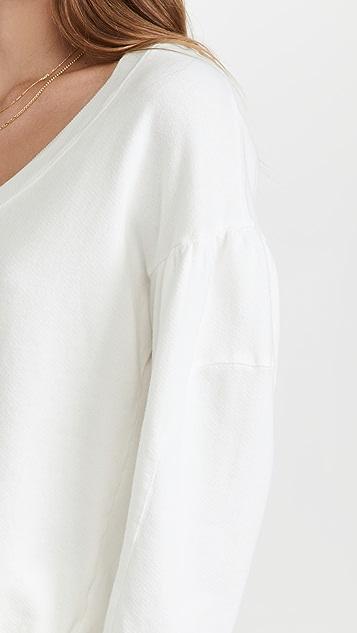 MONROW Shirred Sleeve Sweatshirt