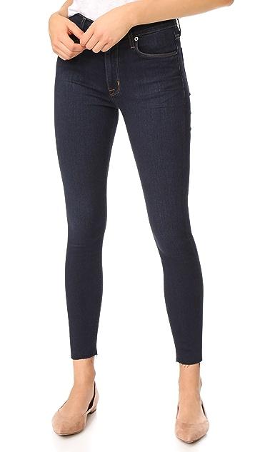 Hudson Barbara High Waist Super Skinny Jeans with Raw Hem