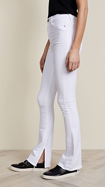 Hudson Heartbreaker High Rise Boot Cut Jeans with Slits - Optical White