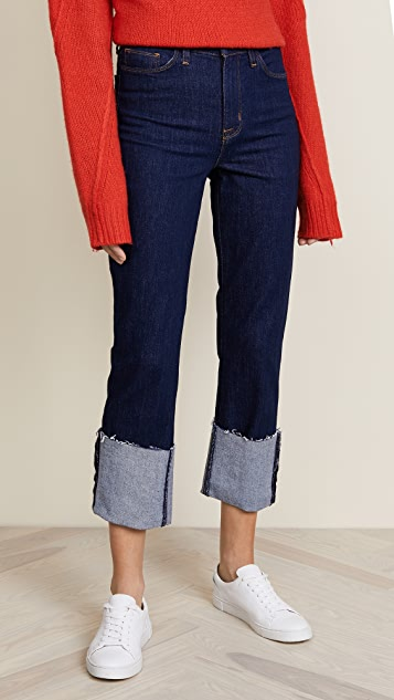 Hudson High Rise Zoeey Straight Cuffed Crop Jeans