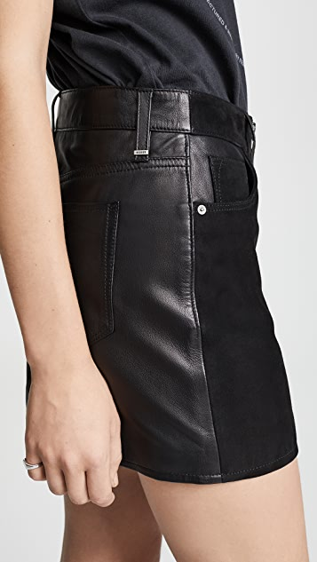Hudson Exposed Zip Leather Skirt