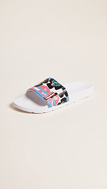 Hunter Boots Original Floral Stripe Adjustable Slides