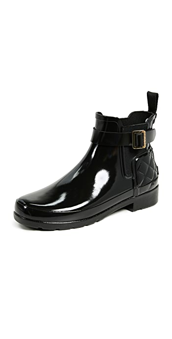 Hunter Boots Refined Gloss Quilt Chelsea Boots - Black