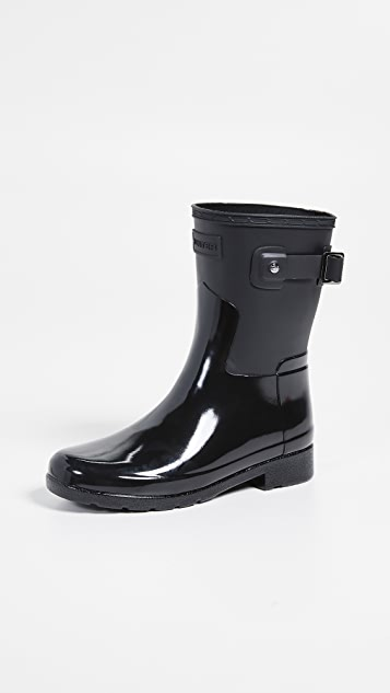 Hunter Boots Refined Short Gloss Duo Boots - Black