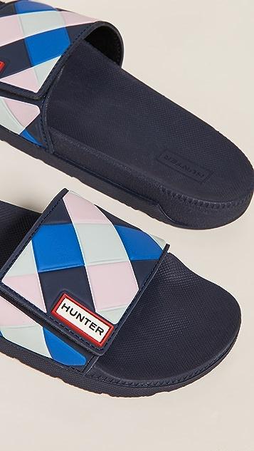 Hunter Boots Original Adjustable Gingham Slides