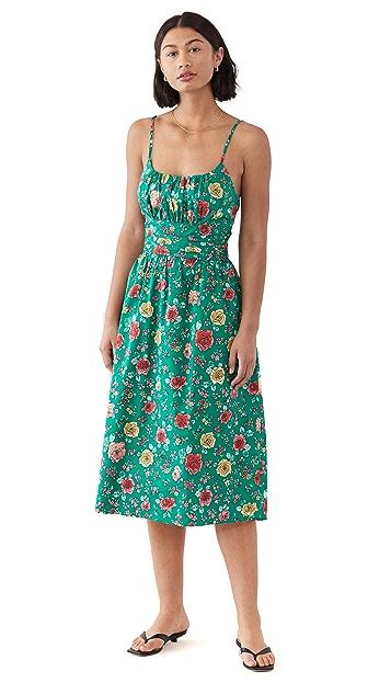 HVN Lucy 绑带抽褶棉质连衣裙