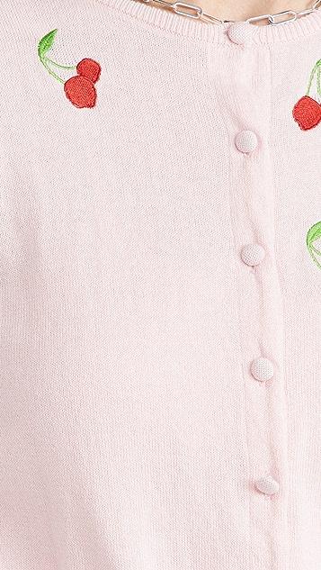 HVN Laura Embroidered Cardigan & Tank Set