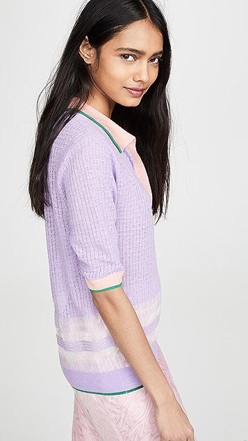 i-am-chen 撞色超大马球衫