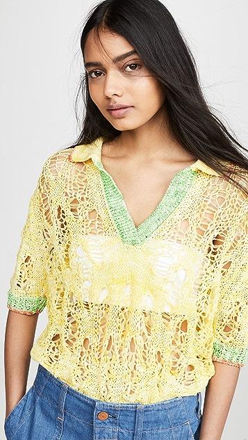 i-am-chen Crochet Knit Polo