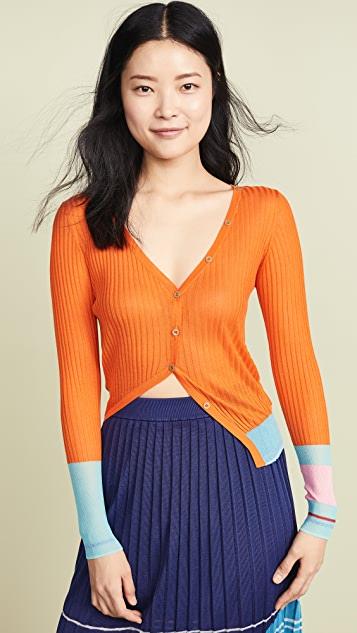 i-am-chen Stripe Sleeve Cardigan