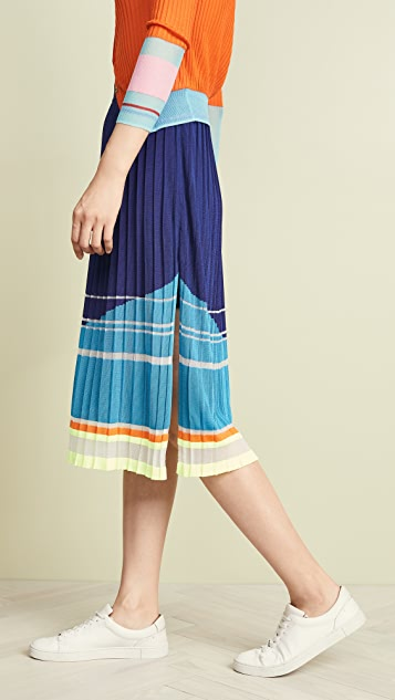 i-am-chen Slit Pleated Stripe Skirt