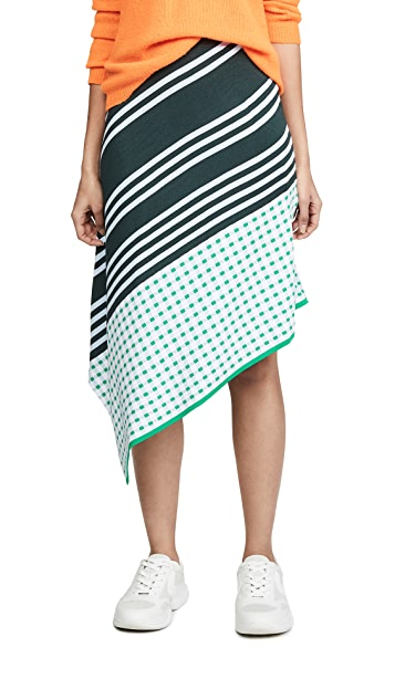 i-am-chen Mixed Print Asymmetrical Skirt