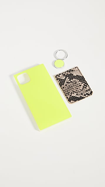 iDecoz 3 Piece Neon Yellow Python iPhone Accessories