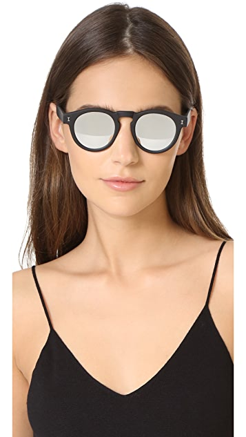 Illesteva Matte Leonard Mirrored Sunglasses