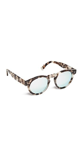 Illesteva Leonard Mirrored Sunglasses - White Tortoise/Silver