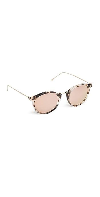 Illesteva Portofino Mirrored Sunglasses - White Tortoise/Rose Gold