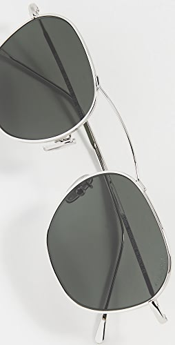 Illesteva - Bowery 54 Silver with Olive Flat Lenses