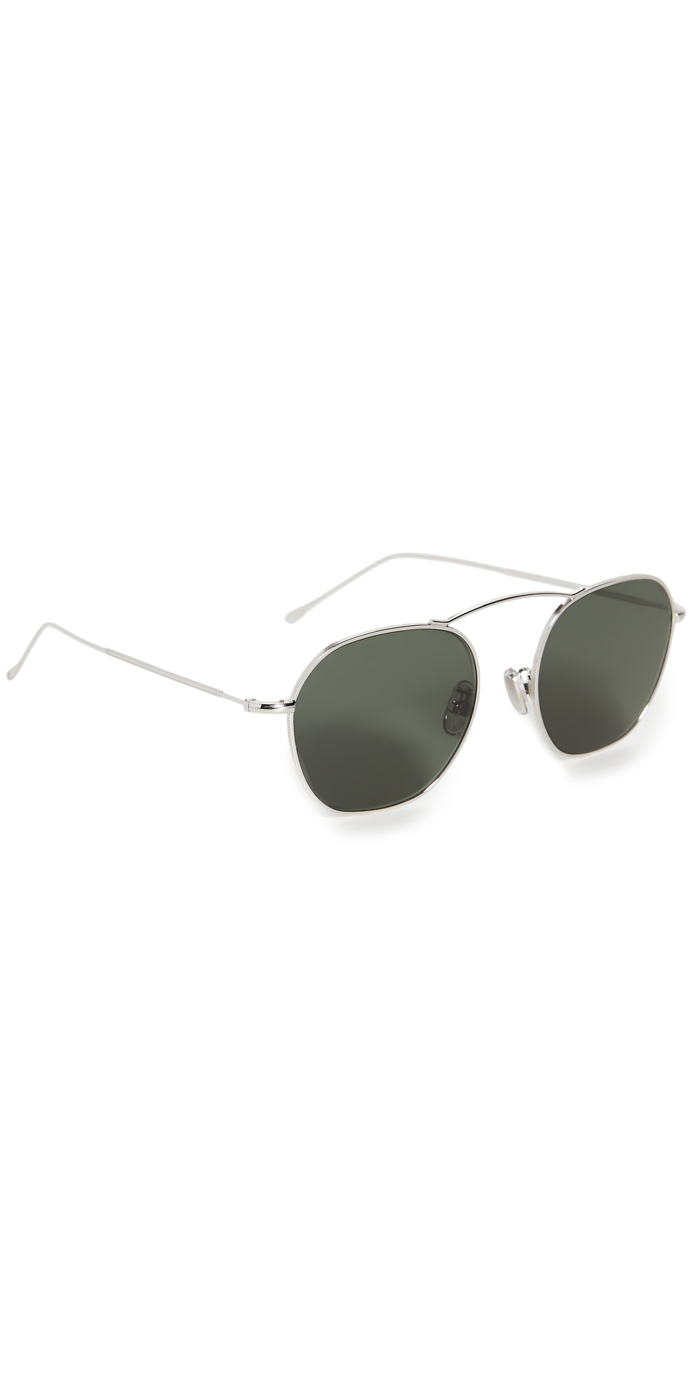 Bowery 54 Silver with Olive Flat Lenses