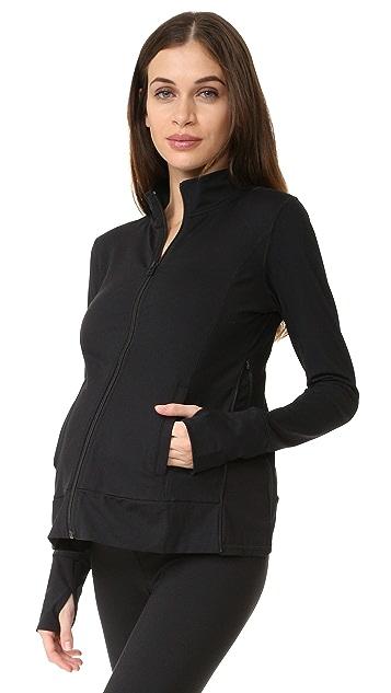 Ingrid & Isabel Active Side Zip Maternity Jacket - Black